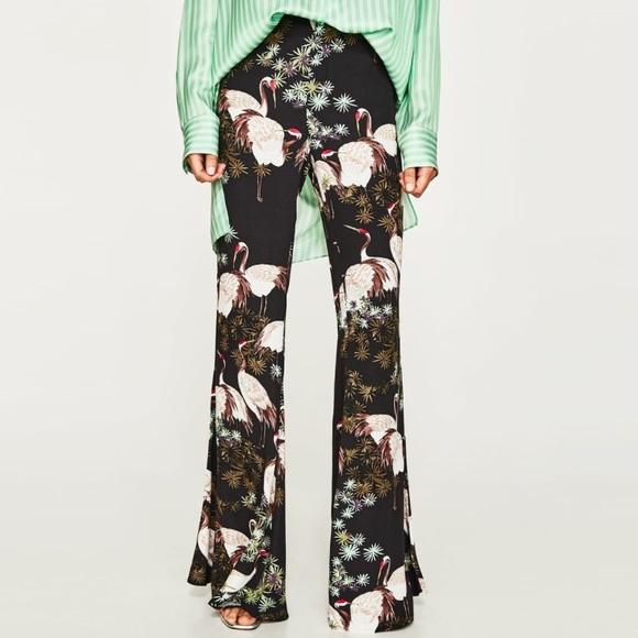 f4e84a473 Zara Pants   Crane Bird Print Wide Leg Trousers   Poshmark